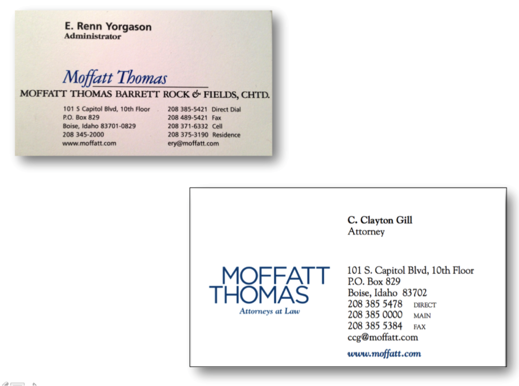 Moffatt Thomas business card before and after revision