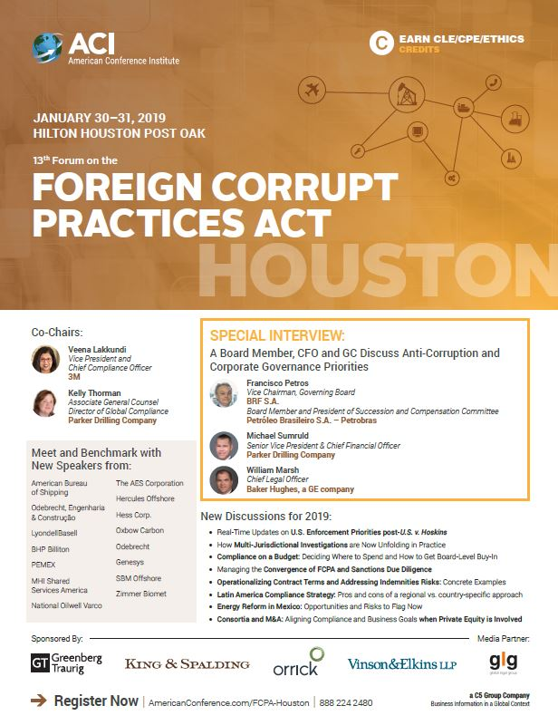 Event 13th Forum On The Foreign Corrupt Practices Act