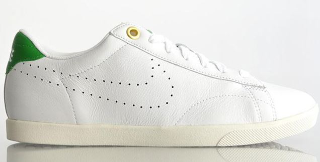 new concept 1bef0 774ee But Skechers isnt the only one out there making white leather tennis court  shoes with perforations and colored heel tabs. What about this pair from  Nike, ...