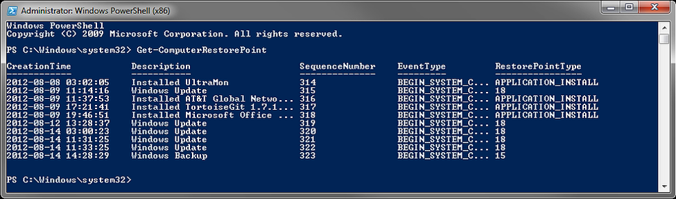 PowerShell Command Get-ComputerRestorePoint