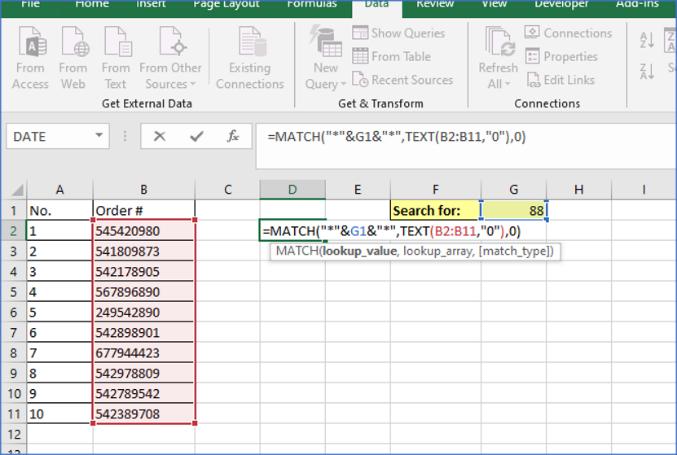 Excel Match Formula