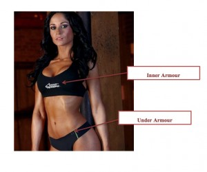 An image filed with the Under Armour lawsuit shows Inner Armour marketing where a model wears not only an Inner Armour Sports Bra, but an Under Armour bottom, of all things.