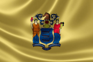 32098765 - 3d rendering of the flag of new jersey on satin texture.