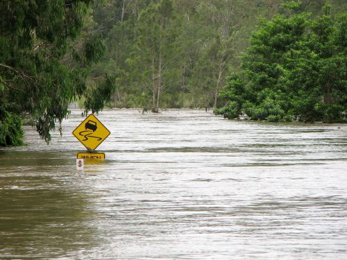 street sign flooded