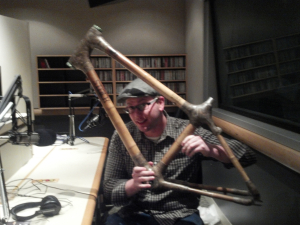 Lars Jacobsen of Stalk Bicycles shows off bamboo framing
