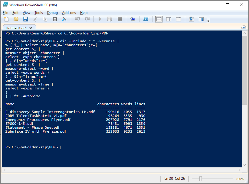 PowerShell script to count words, lines, and characters in multiple PDF files