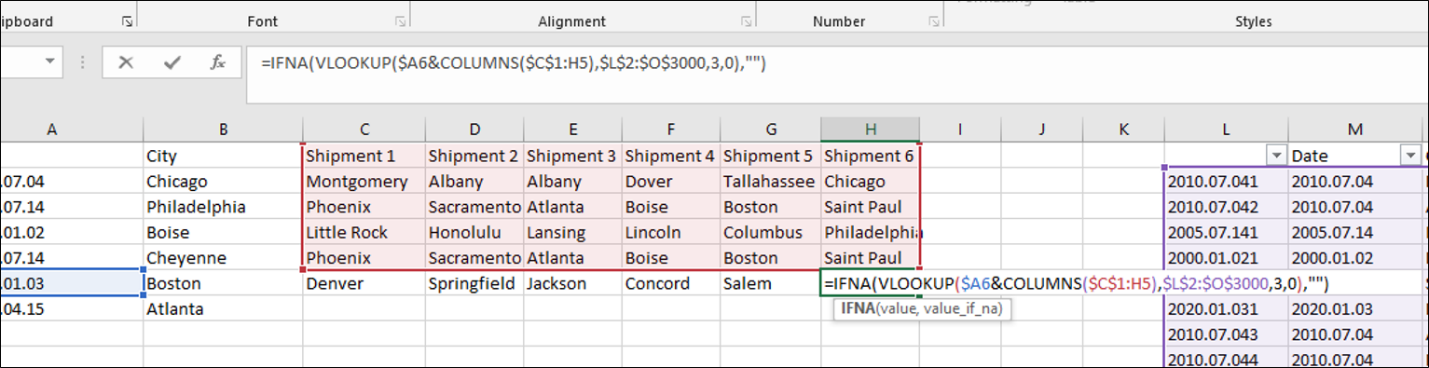 Use VLOOKUP to find multiple values in an array