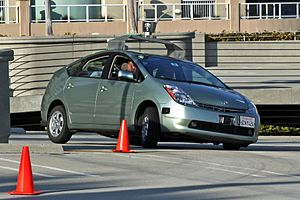 Google driverless car operating on a testing path
