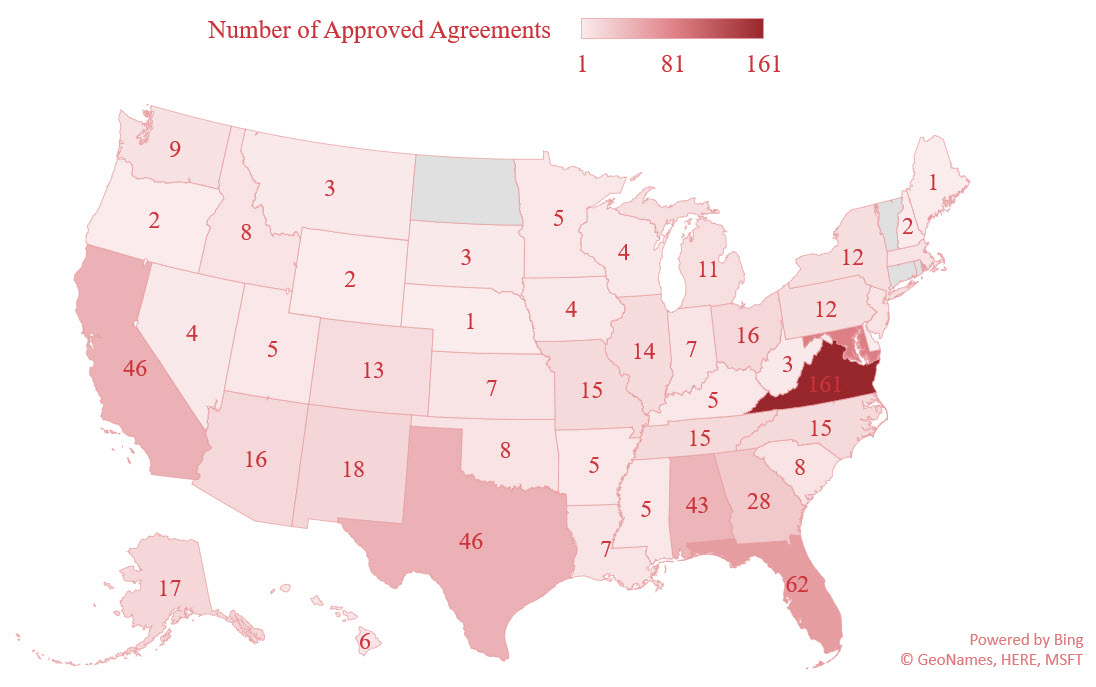 Geographical Distribution of SBA-Approved ASMPP Agreements