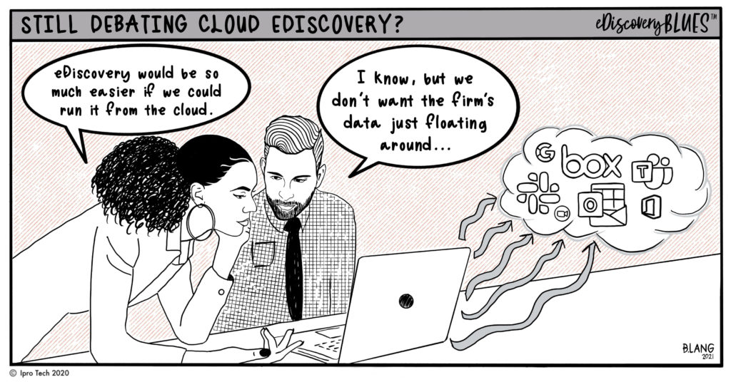 Individuals debating about cloud eDiscovery