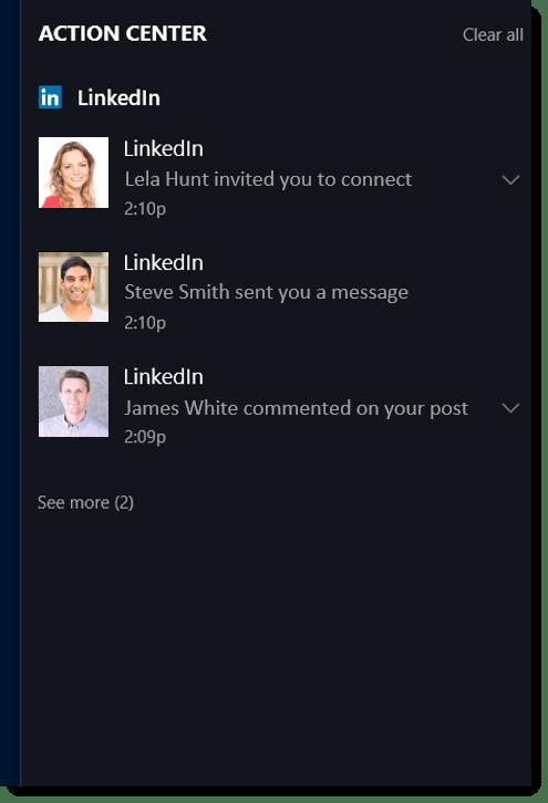 LinkedIn App for Windows 10 Start Menu