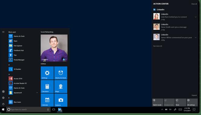 LinkedIn Microsoft Windows 10 Start Menu App Tile