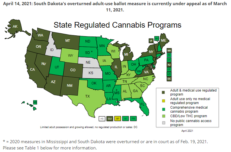 State Regulated Cannabis Programs Map