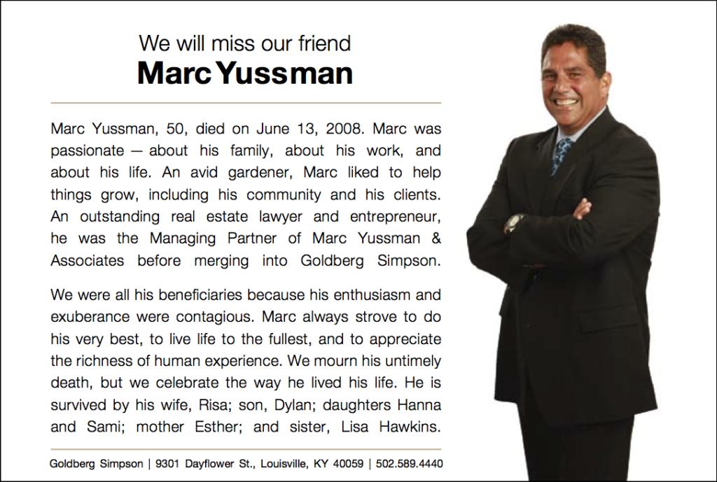 Marc Yussman obituary ad Goldberg Simpson