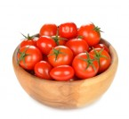 Tomatoes in a wooden bowl