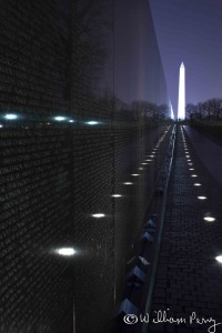 Washington Monument Vietnam Memorial Black Wall, Night Washingto