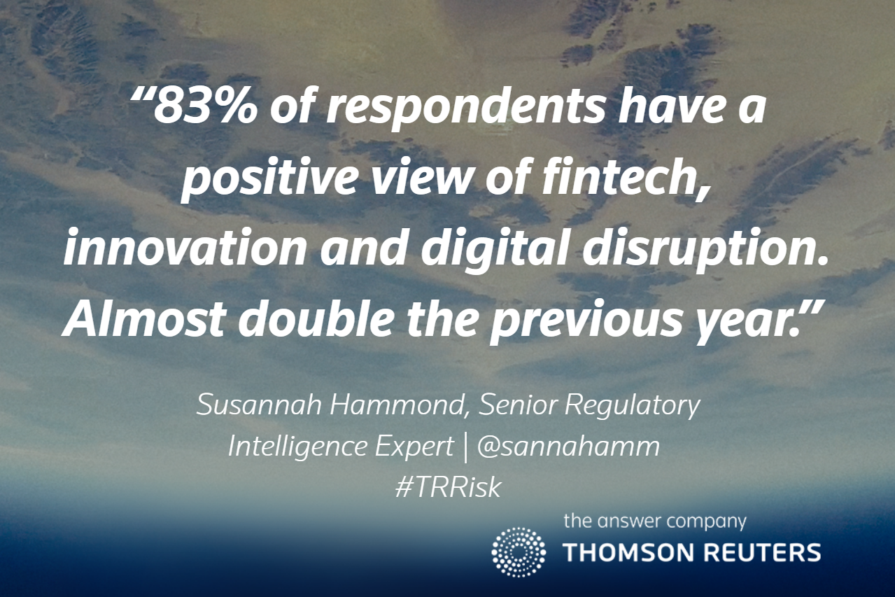 Eight-three percent of respondents reported having a positive view of fintech, innovation and digital disruption. This is almost double the 2016 results, where only 42 percent reported a positive view. – Susannah Hammond