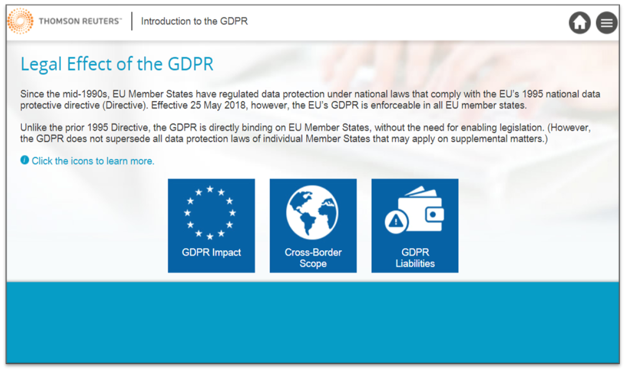 A view of the Thomson Reuters GDPR online training course.