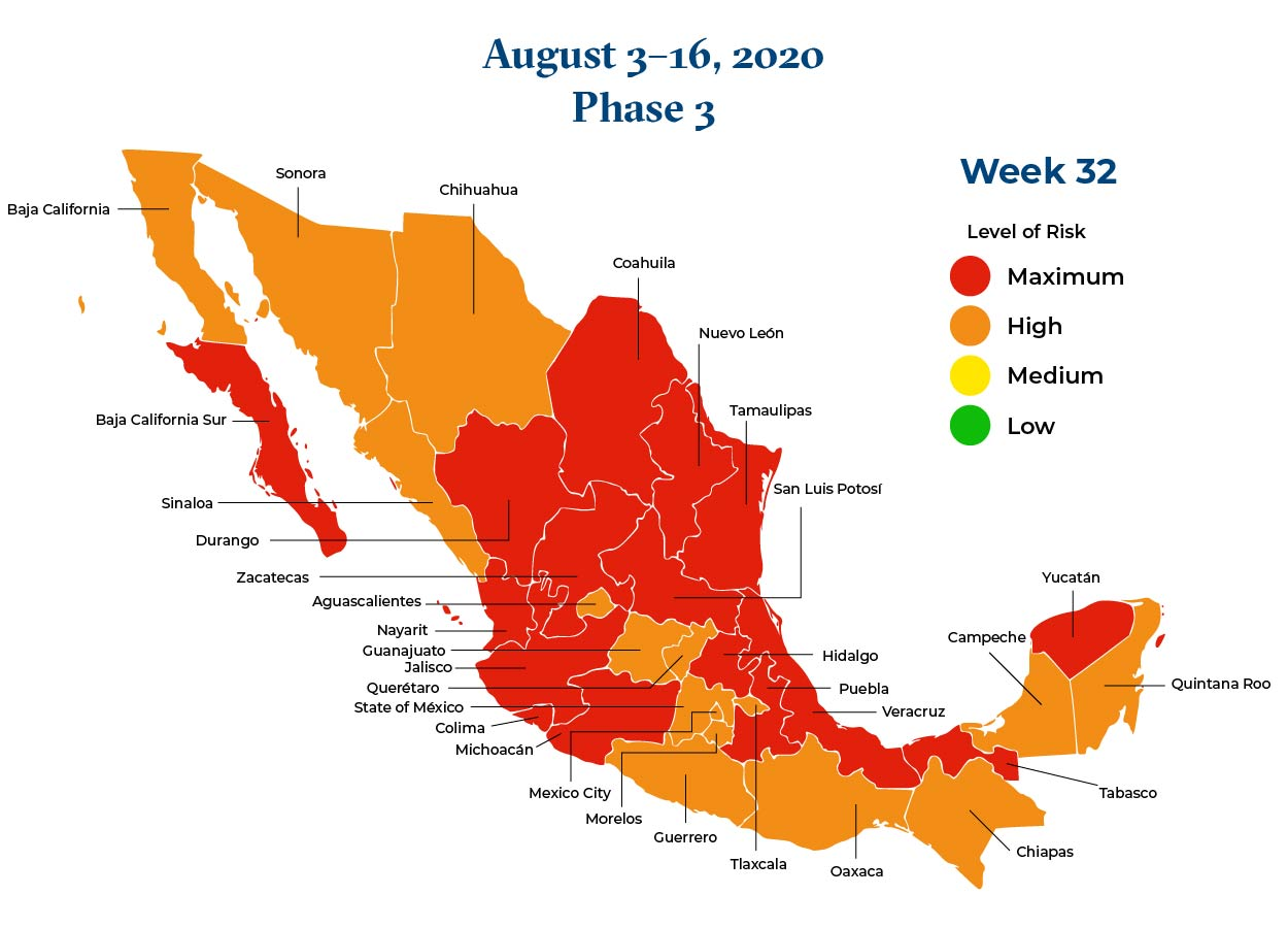 Mexico August 3 2020 to August 9 2020 Phase 3 Map