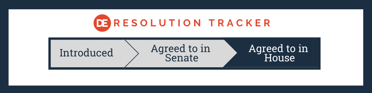 DE Resolution Tracker: Agreed to in House