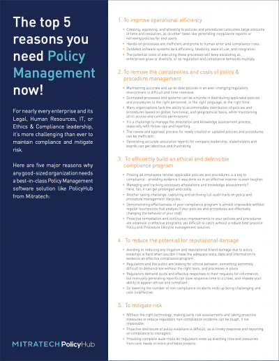 Top 5 Reasons You Need Policy Management Now