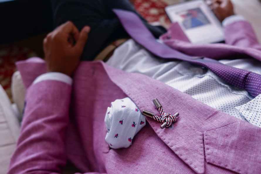 person wearing purple blazer