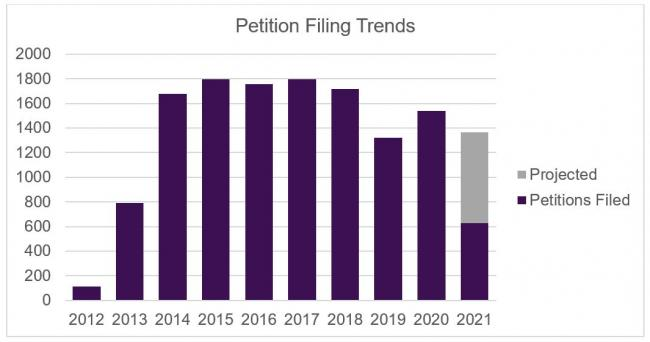 petition filing trends graph