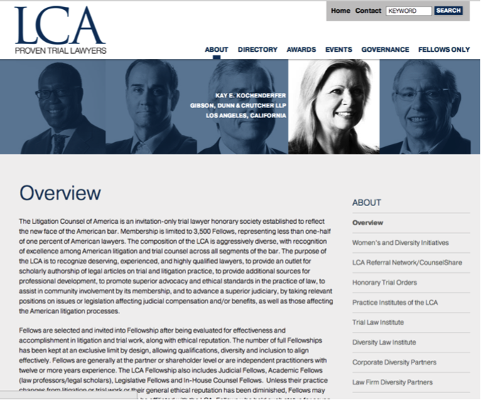 LCA Litigation Counsel of America Overview page