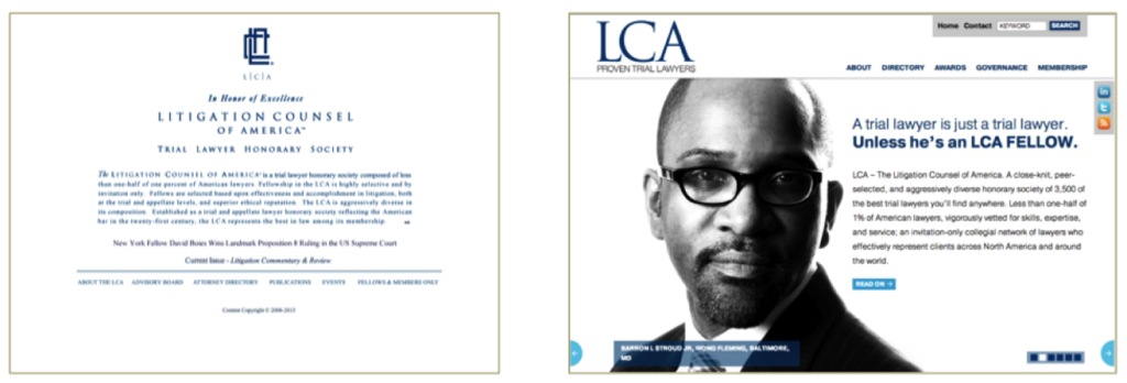 LCA - Litigation Counsel of America home page before and after