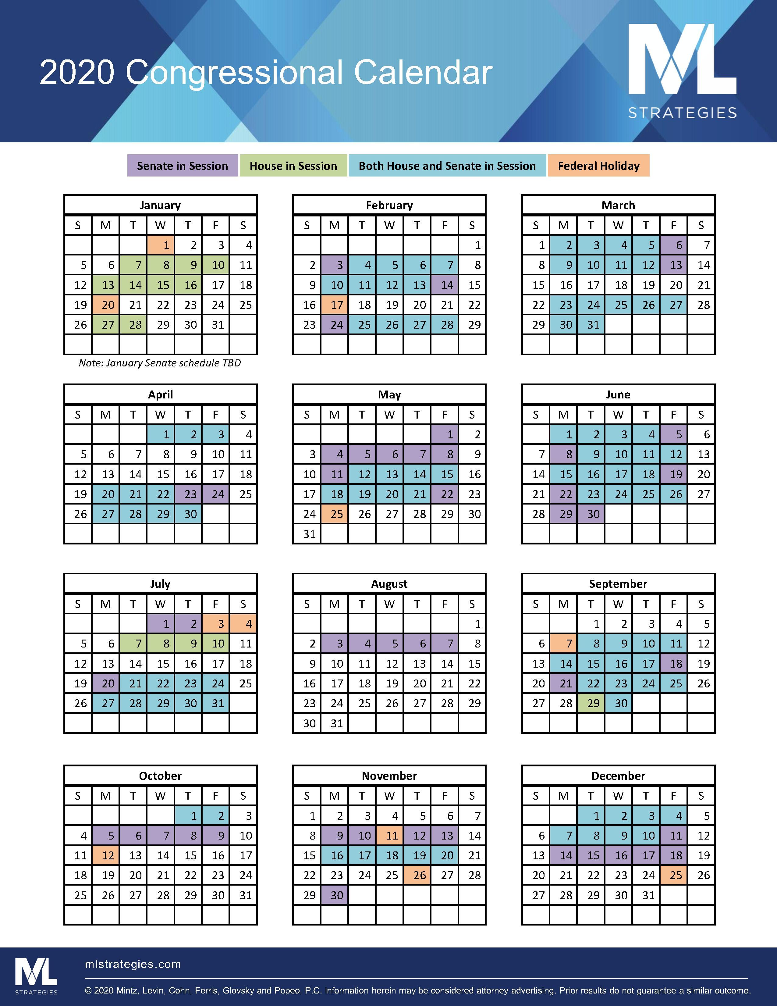 2022 Congressional Calendar.2020 Congressional Highlights Mintz Ml Strategies Jdsupra