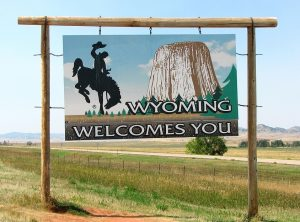 Wyoming, Welcome, Sign, Landscape, day, border