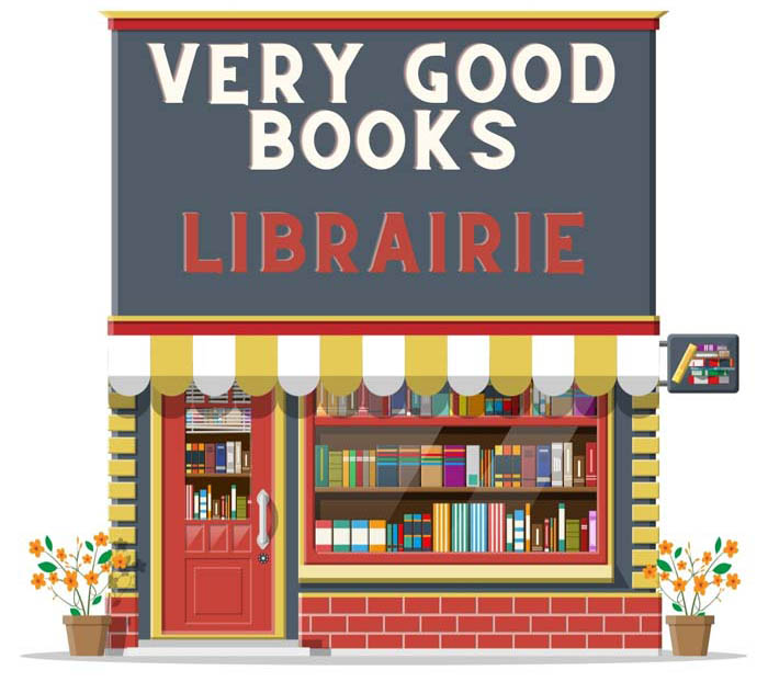 """An image of a store front with VERY GOOD BOOKS and """"librairie"""" is the French word for """"bookstore"""" under it"""