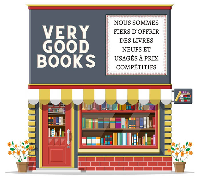 Image: A bookstore with the trademark name of VERY GOOD BOOKS and a French description of the business next to it